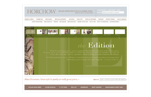 Concept for an online magalog to enhance site's editorial content, leverage print imagery, and enagage the viewer. The viewer can click any item within a story to display that item's product page.