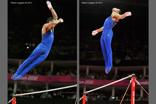 Danell Leyva (USA) competing on High Bar at the London 2012 Olympic Games.