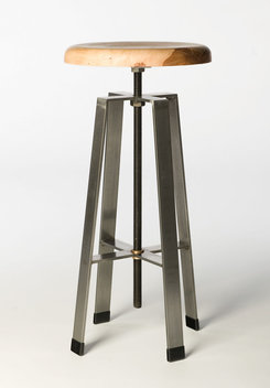 "Tall stool is 28"" tall for use at a bar or standing work station. Top Adjusts up and down 6"".  Top shown is salvaged Texas Pecan from a tree that was buned in the Bastrop fires of 2011."