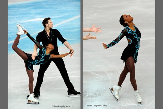 Vanessa James and Morgan Cipres (France) competing the Pairs event at the 2012 European Figure Skating Championships at the Motorpoint Arena in Sheffield UK January 23rd to 29th.