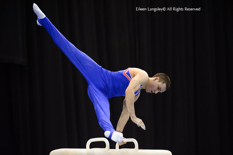Sam Hunter (Great Britain) competing on Pommel Horse at the 2010 European Gymnastics Championships in Birmingham.