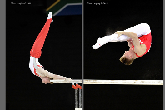 Nile Wilson (England) competing on Parallel Bars at the Gymnastics competition of the 2014 Glasgow Commonwealth Games.