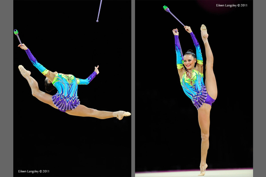 Ulyana Trofimova (Uzbekhistan) competing with Clubs at the World Rhythmic Gymnastics Championships in Montpellier.
