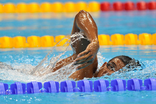 Lorenzo Escalona Perez (Cuba) shows fine style during the Men's 400 freestyle S6 race at the London 2012 Paralympic Games.