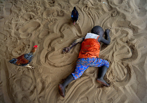 Little boy in Sierra Leone falls asleep and is a curiosity for the chickens.