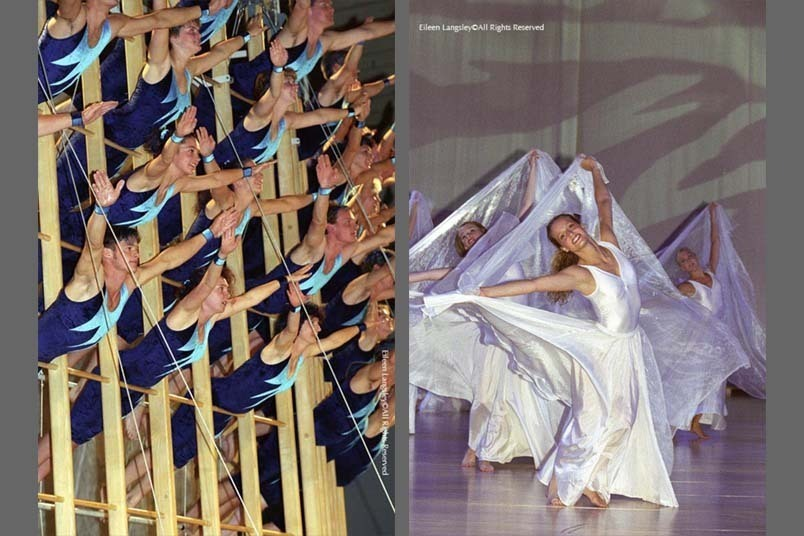 A double image of groups performing at the Gymnaestrada in Gothenburg - the Swiss Group 'Move and Climb' left and Malmo Flickorna right.