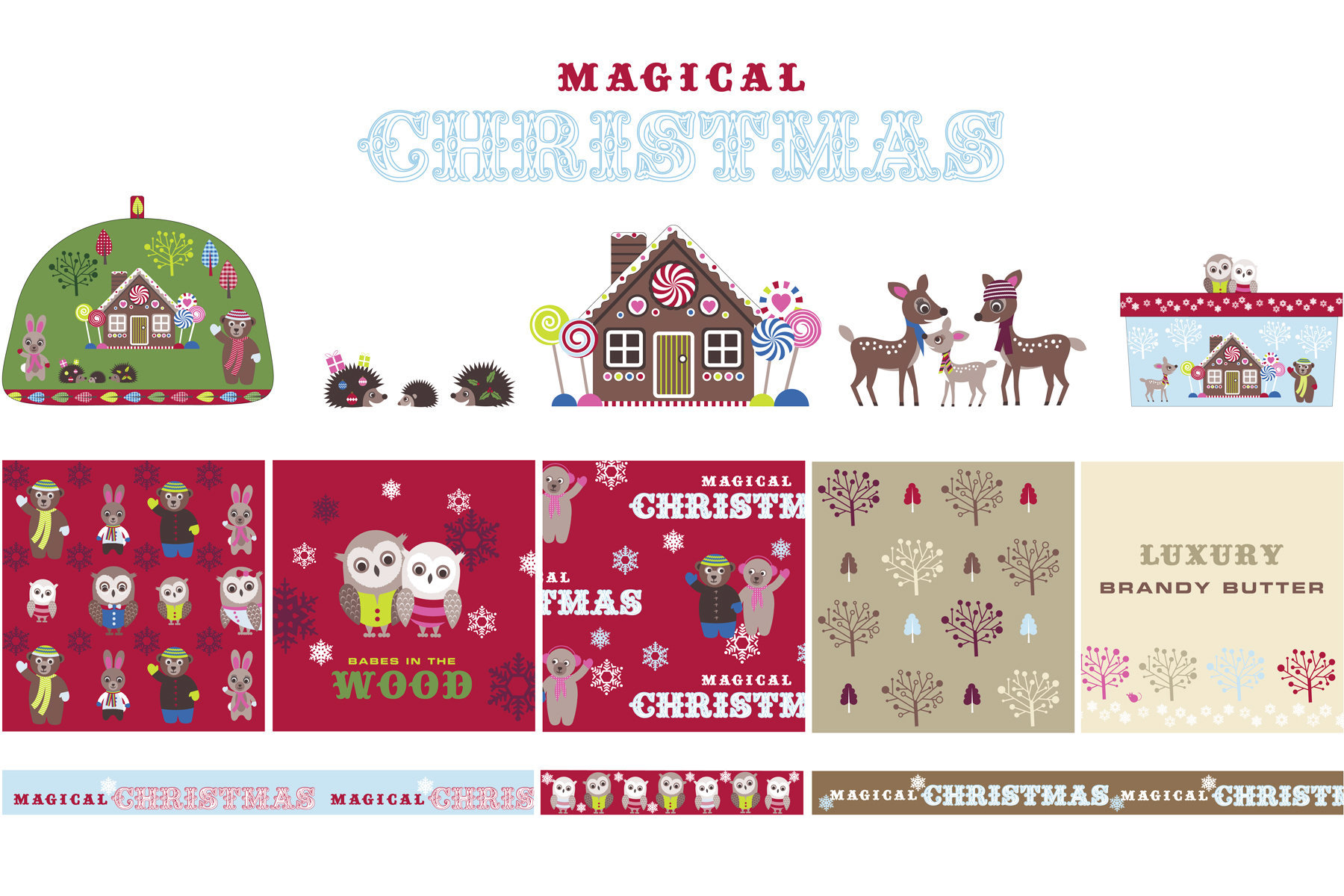 A Christmas scheme showing animal characters, icons, pattern and product. 
