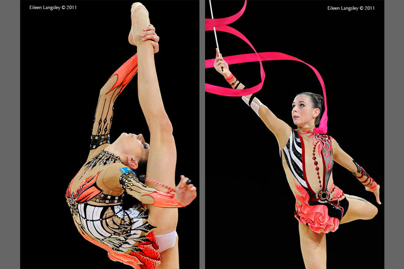 Mizana Ismailova (Kazakhstan) competing with Clubs and Ribbon at the World Rhythmic Gymnastics Championships in Montpellier.