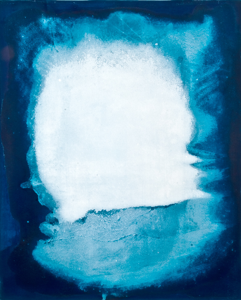 Unique cyanotype on watercolour paper
