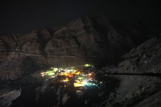 Mountain village at night in Kordestan, Iran.