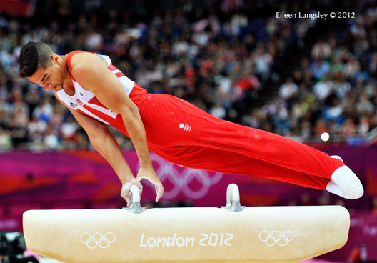 Louis Smith (Great Britain) during pommel horse routine in apparatus finals at the London 2012 Olympic Games.