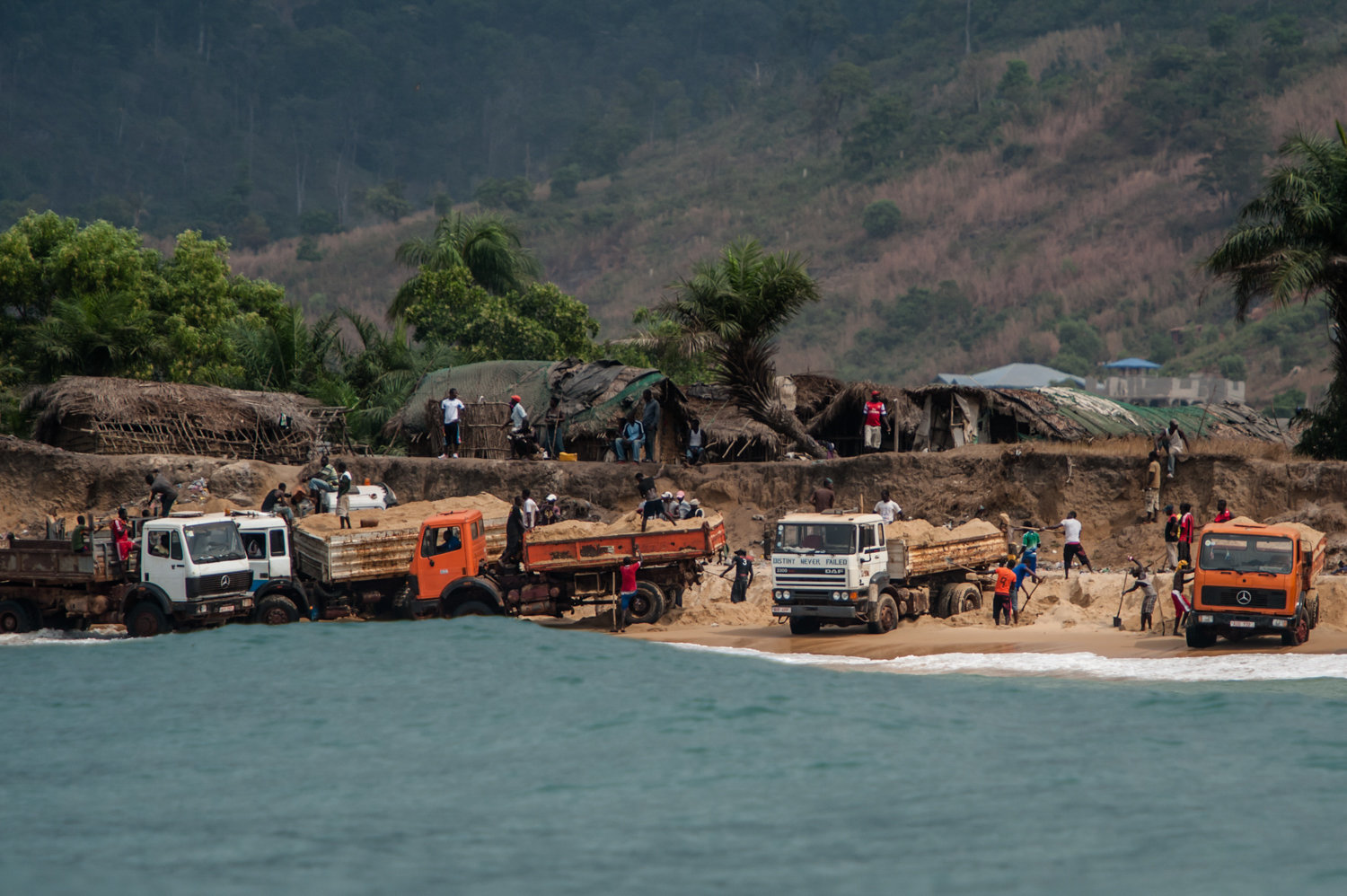 Sand mining has been declared illegal by President Koroma, but it still takes place in broad daylight.