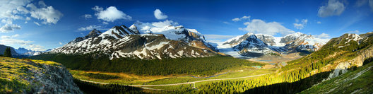 Sadie and I drove through the Icefield Parkway a few year ago in Jasper NP, Alberta. This is a composite of 6 or 8 images made with my camera held vertically. Having been there I feel like it really captures the valley. The Athabascan glacier in seen just to the right of center dripping down from the Columbia Icefield. When we were there they had signs for every decade where the glacier was. It has receded alot, even since the 80's.