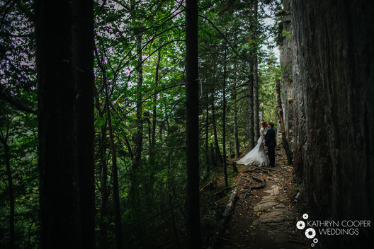 woods kiss between two brides hiking in Acadia National Park, Maine - lgbtqia wedding photographer