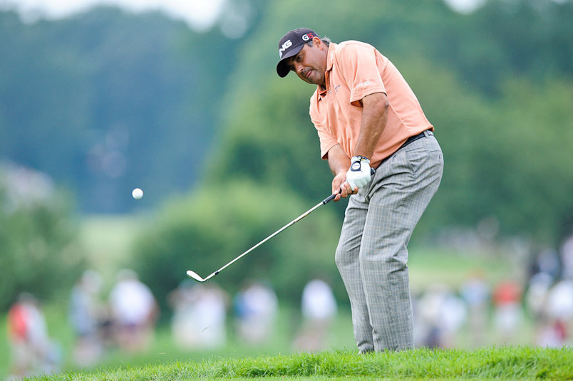 15 August 2009: Angel Cabrera completes his swing during the third round of the 91st PGA Championship at Hazeltine National Golf Club on August 15, 2009 in Chaska, Minnesota.