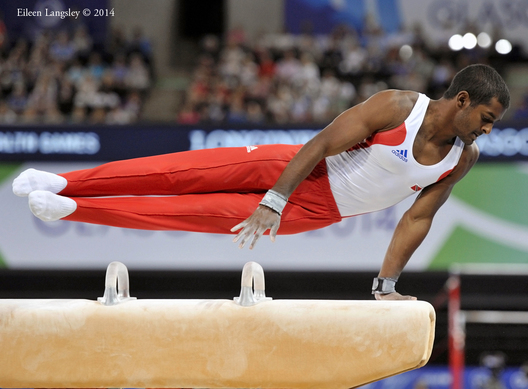 William Albert (Trinidada and Tobago) competing on Pommel Horse at the 2014 Glasgow Commonwealth Games.