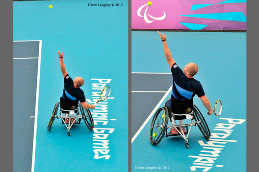 Marc McCarroll (Great Britain) during the men's sinlges wheelchair tennis event of the London 2012 Paralympic Games.