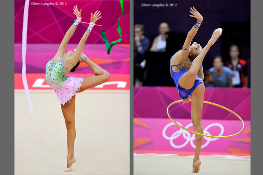 Evgenoya Kanaeva (Russia) winner of the gold medal competing with ribbon and hoop during the Rhythmic Gymnastics competition at the 2012 London Olympic Games.