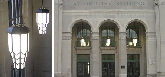 Restoration of exterior glass and steel large art deco lighting pendants