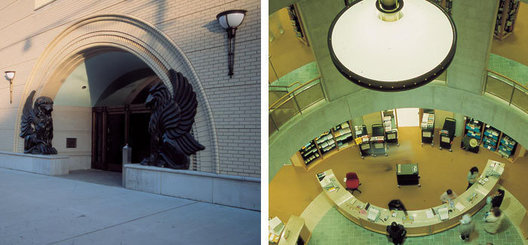 Children's library, custom bronze and acrylic exterior sconces. 4' diameter bronze and acrylic central atrium pendant