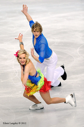 Pernelle Carron and Lloyd Jones (France) competing the Dance event at the 2012 European Figure Skating Championships at the Motorpoint Arena in Sheffield UK January 23rd to 29th.