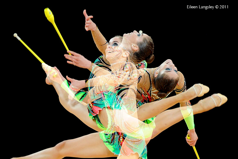 A multi exposure image of a gymnast competing with Clubs at the World Rhythmic Gymnastics Championships in Montpellier.