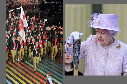 Nick Matthew carries the England Flag on behalf of the team and Her Majesty the Queen retrieves her speech from the baton, during the Oening ceremony of the 2014 Glasgow Commonwealth Games.