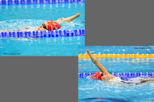 Amy Marren (left) andLouise Watkin (right) both Great Britain  competing in the 100 metres backstroke S9 at the 2012 London Paralympic Games.