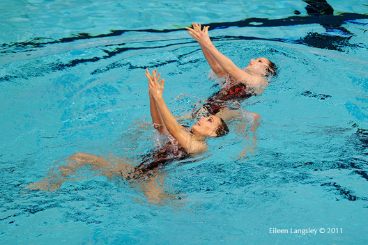 Olivia Allison and Jenna Randall (Great Britain)) compete in the Duet section of the European Synchro Champions Cup atPonds Forge International Sports Centre in Sheffield May 2011.