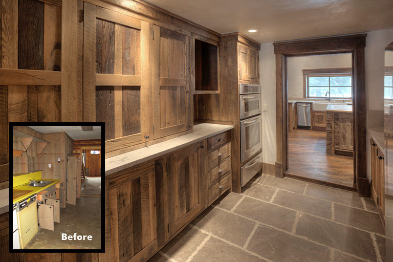 This walkthrough pantry provides serious storage for the residents in the home. Equipped with a double oven, microwave, utility sink, broom closet and plenty of shelving, it becomes the second heart of the kitchen. Sable Stone from Materials Marketing mstoneandtile.com with chiseled edges adorne the floor.