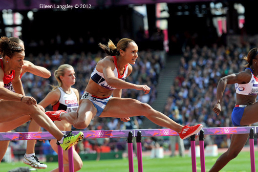 Jessica Ennis (Great Britain) competing in the hurdles race, the first event of the Heptathlon at the 2012 London Olympic Games.