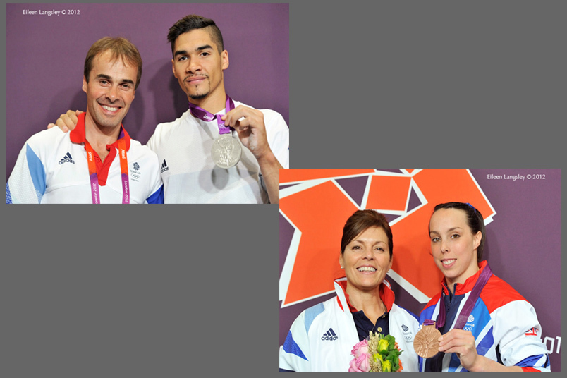 Louis Smith (Great Britain) with his coach Paul Hall and the silver medal he won during the Pommel Horse finals and Beth Tweddle with her coach Amanda Reddin and the bronze medal she won druing Asymmetric ars final of the Gymnastics event at the 2012 London Olympic Games.