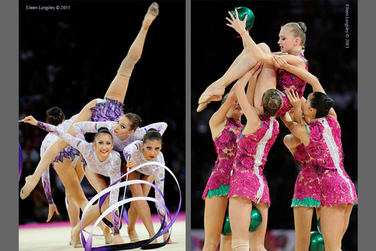 The groups from Bulgaria (left) and Russia (right) in action at the World Rhythmic Gymnastics Championships in Montpellier.