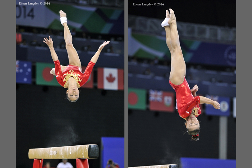 Wei Heem Lim (Singapore) competing on beam during the Gymnastics competition of the 2014 Glasgow Commonwealth Games.