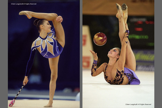 A double image of Rhythmic gymnast Alina Kabaeva (Russia) the World and Olympic Champion competing with the Clubs at the New York Goodwill Games, left and with the Ball at the 2001 Madrid World Championships, right.