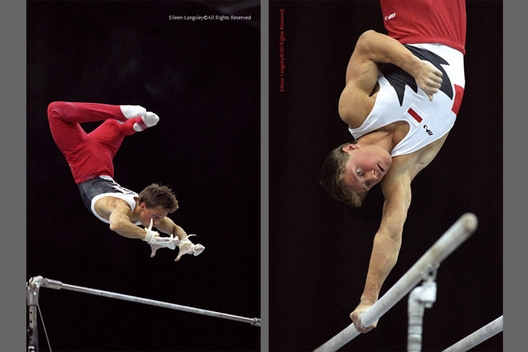 A double image of gymnast Ivan Ivankov (Belarus) competing on the High Bar and the Parallel Bars at the 1993. Birmingham International.
