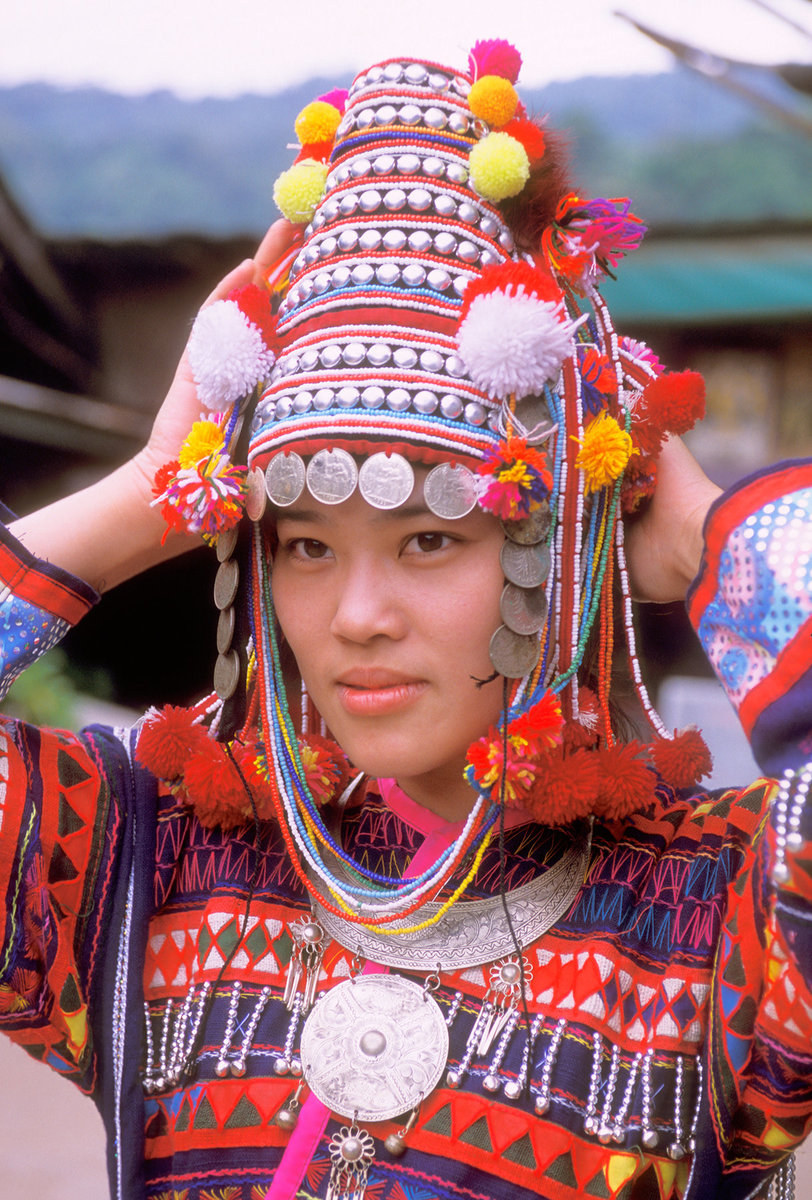 Thailand, Girl wearing Hmong hill tribe traditional clothes, Chiang Mai
