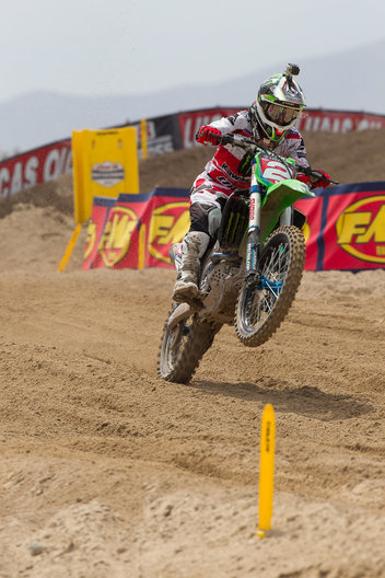 Tooele, UT - August 17: Ryan Villopoto charges the track during the AMA Utah National Motocross Race at Miller Motorsports Park on August 17, 2013 in Tooele, Utah.