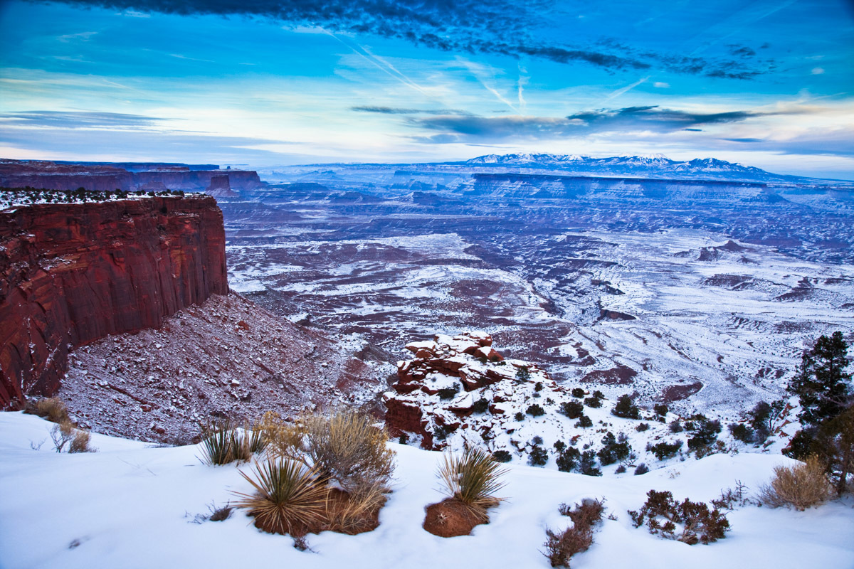 Canyonlands National Park, Island in the Sky section, near Moab, Utah during a winter sunset.
