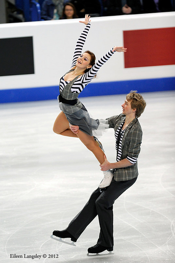 Barbora Silna and Juri Kurakin (Austria) competing the Dance event at the 2012 European Figure Skating Championships at the Motorpoint Arena in Sheffield UK January 23rd to 29th.