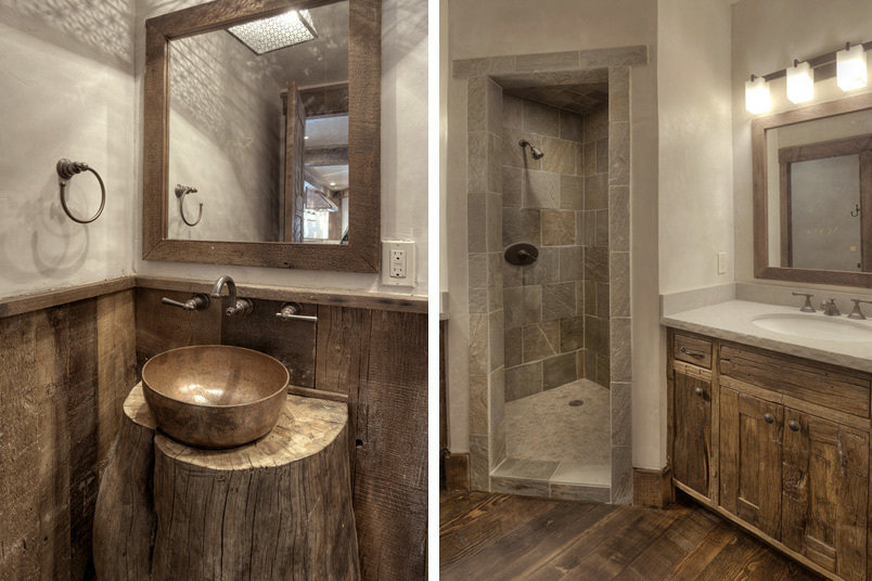 These rustic bathrooms feature a patinaed copper sink, stone and rustic cabinets.