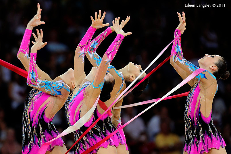 The group from Israel competing with Hoop and Ribbon at the World Rhythmic Gymnastics Championships in Montpellier.