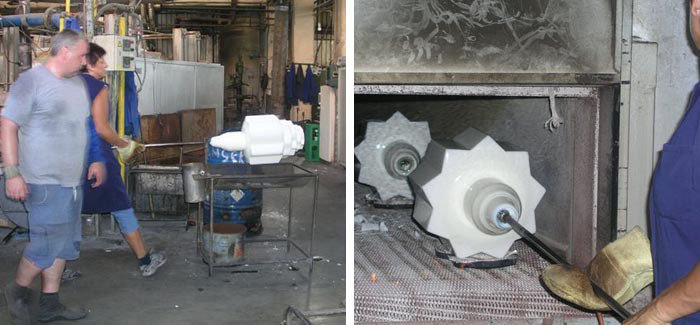 Final stages production of large deco glass and annealing process