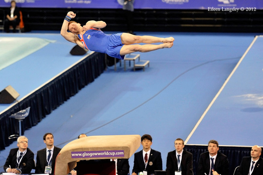Daniel Purvis (Great Britain) competing on Vault at the 2012 FIG World Cup in the Emirates Arena